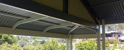 As the image shows, the structure of a bullnose verandah is quite complex compared with the gable roof of the main part of the carport.